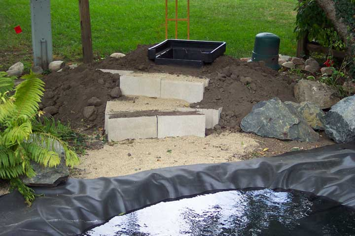 Hints waterfall for Building a koi pond step by step