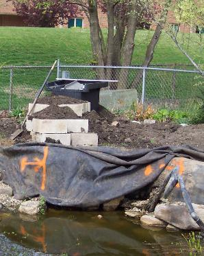 Hints waterfall for Concrete block pond construction