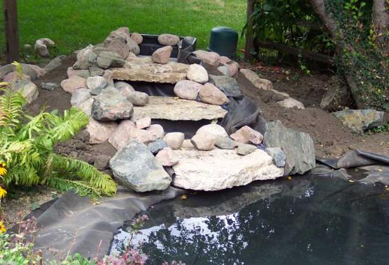 Hints waterfall for Making a garden pond and waterfall